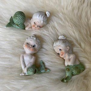Vintage porcelain baby mermaids